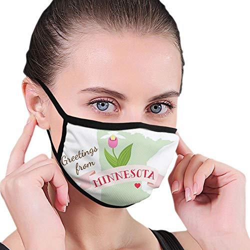 Bequeme Winddichte Maske, Grüße aus Minnesota Schriftzug mit endemischer Blume von auffälligen Damenpantoffeln