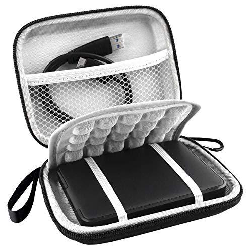 Lacdo Externe Festplattentasche Hard Drive Case für Western Digital WD Elements/WD My Passport Ultra for Mac/WD Game Drive HDD 500GB 1TB 2TB 3TB 4TB 5TB Stoßfeste wasserdichte Tragetasche, Schwarz