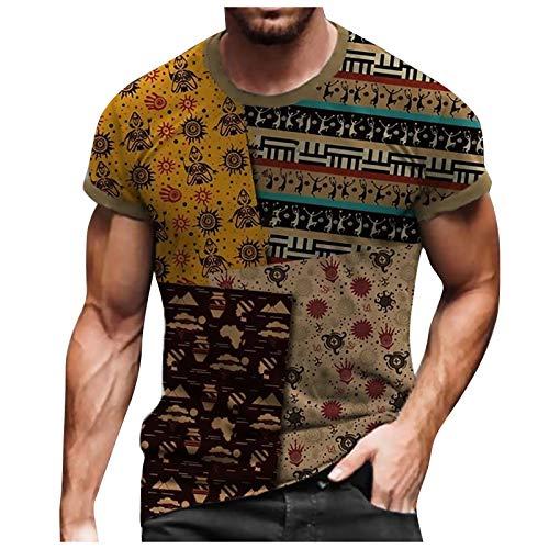 T-Shirt Top Bluse Männer Frühling Sommer Casual Slim 3D gedruckt Kurzarm (XL,7Braun)