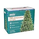 ANSIO Árbol de Navidad Luces 750 LED 18,75m Blanco brillante Luces interiores/exteriores Decoraciones Luces de cuerda de hadas Alimentación principal 61 pies Longitud encendida Cable verde