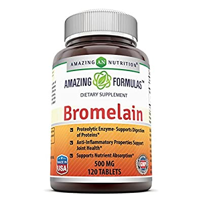 Amazing Nutrition Bromelain Proteolytic Digestive Enzymes Supplements, 500 mg, 120 Tablets (Non-GMO,Gluten Free)