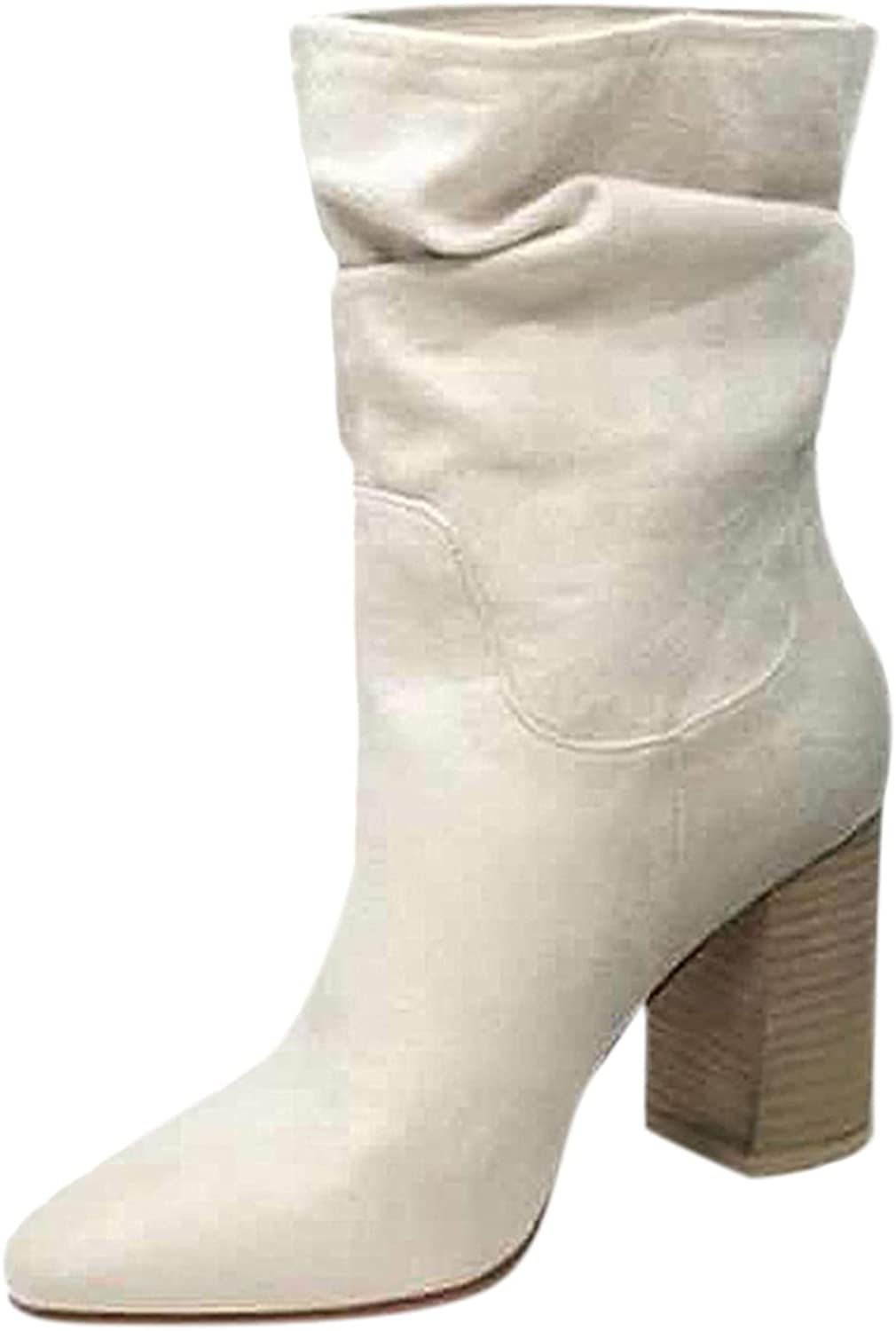 BGFIIPAJG Boots for Women,Fashion Womens Flats Non-Slip Flock Slip-On Round Toe Casual Shoes Ankle Boots Mid-Calf Boots with Chunky Heel