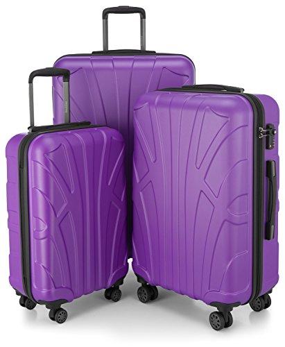 Suitline 3er Koffer-Set Trolley-Set Rollkoffer Hartschalen-Koffer Reisekoffer, TSA, (55 cm, 66 cm, 76 cm), 100% ABS, Matt, Lila/Aubergine