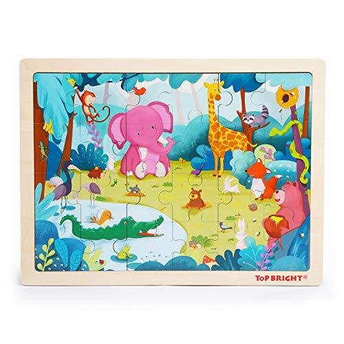 TOP BRIGHT 24 Pieza del Jigsaws Puzzles de Madera, Forest Animals Toddler Puzzle para Niños y Niñas de Edades 3, 4 y 5