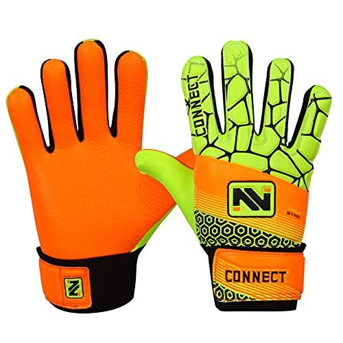 CONNECT Torwarthandschuhe für Kinder, Jungen und Mädchen, für Kinder geeignet, raues Profil, Flourcent Orange, 5