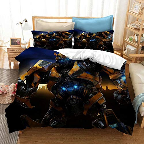 Siyarar Transformer Duvet Cover Bedding Sets Twin Size for Kids Boys Teenagers Bumblebee Bed Set 2 Pieces (1 Duvet Cover and 1 Pillowshams) T9