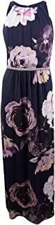 SL Fashions Women's Missy Social Floral Embellished Chiffon Maxi Gown (4) Navy