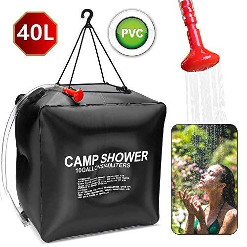 Campingdusche Solar, ASANMU Solardusche Tasche 40L Duschsack Solar Heizung Camping Dusche Tasche Gartendusche Outdoor Warmwasser Dusche Wandern Wassersack mit Duschkopf, Schlauch, Griffstange und Seil