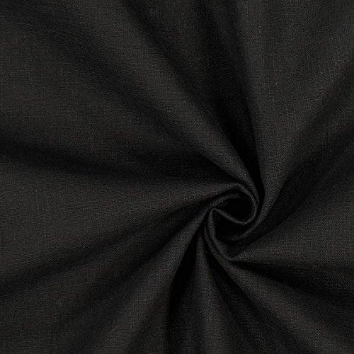 Fabulous Fabrics Leinenstoff mittelschwer, schwarz – Leinenstoffe zum Nähen von Leinenhosen, Freizeithemden, Leinenkleider und natürliche Dekoration - Meterware ab 0,5m