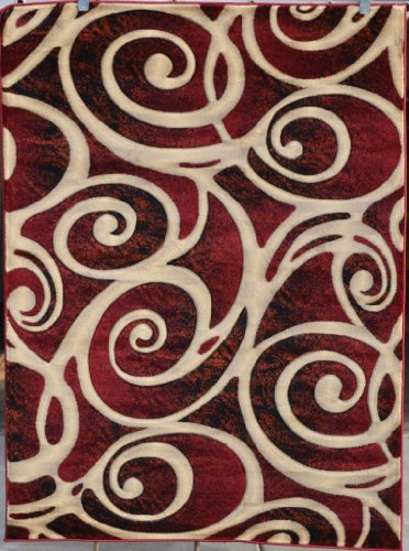 Price See 322 Burgundy Black Beige Swirls 5 2 X 7 2 Modern