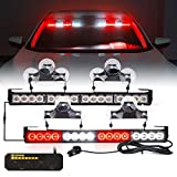 [Upgraded]Xprite LED Emergency Traffic Advisor Strobe Light Bar, Interior Windshield Deck Visor Safety Hazard Warning Flashing Lightbars w/Control Box, for Ambulance Volunteer Vehicle Trucks White&Red