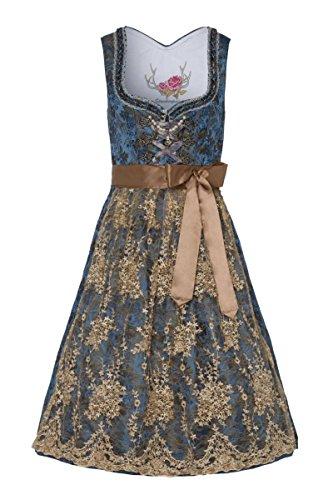 Stockerpoint Damen Midi Dirndl 70er blau Taupe Bestickt Minna 004111, Größe 38