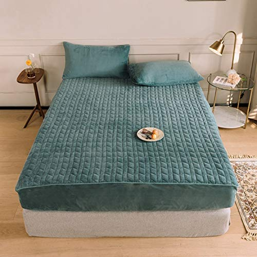 haiba French velvet mattress with thick milk velvet bedspread, can keep warm, waterproof mattress protection cover, non-slip and breathable (gift: two pillowcases)