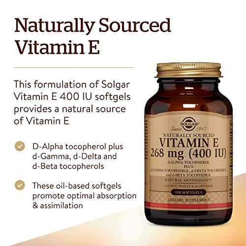 Solgar Vitamin E 400 IU Mixed Softgels (d-Alpha Tocopherol & Mixed Tocopherols)