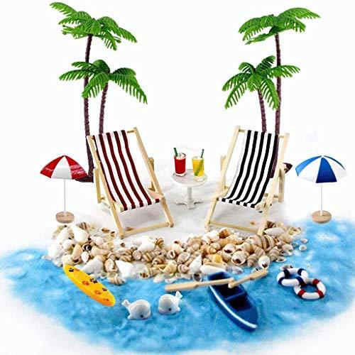 BAULMD DIY Strand Garten Zum Basteln Zubehör Holz,Puppenhausdekoration Kleine Palme Deko Accessoires mit Beach Micro Landscape Miniatur-Set,für Kinder und Eltern (18 in 1)
