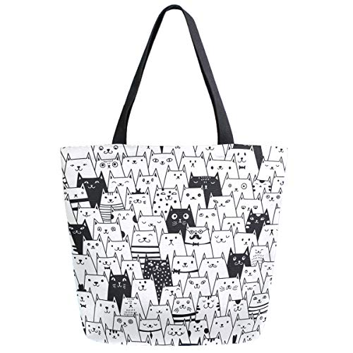 ZzWwR Cute Cartoon Black White Cats Pattern Extra Large Canvas Market Beach Travel Reusable Grocery Shopping Tote Bag Portable Storage HandBags