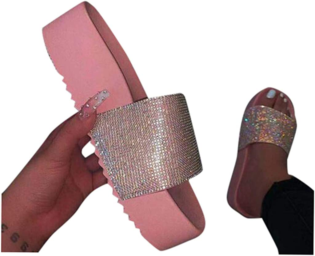 kaifongfu Flat Sandals Slides Womens Flip Flop Open Toe Rhinestone Sandals Casual Beach Shoes Slip On Slippers