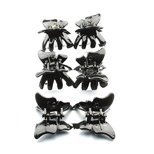 MINI BUTTERFLY PLASTIC HAIR CLAMPS CLIPS BLACK TORT HAIR ACCESSORIES (Black) by Generic