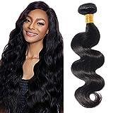 16'(40cm) SEGO Brazilain Human Hair Bundles Extensiones de Cortina Pelo Natural Humano [#1B Negro Natural] Cabello Brasileño sin Clip Rizado Ondulado Body Wave (1 Bundle,100g)