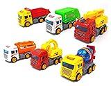 Brigamo Juego de 6 coches de juguete para camiones con motor de volante de inercia de 13 cm
