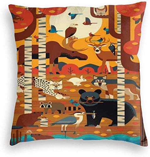 Pillowcase Throw Pillow Pillow Covers Vintage Woodland Forest Animals Textured Style Travel Poster Home Decor Pillowslip Cushion Cases with Zipper Couch Cushion Case