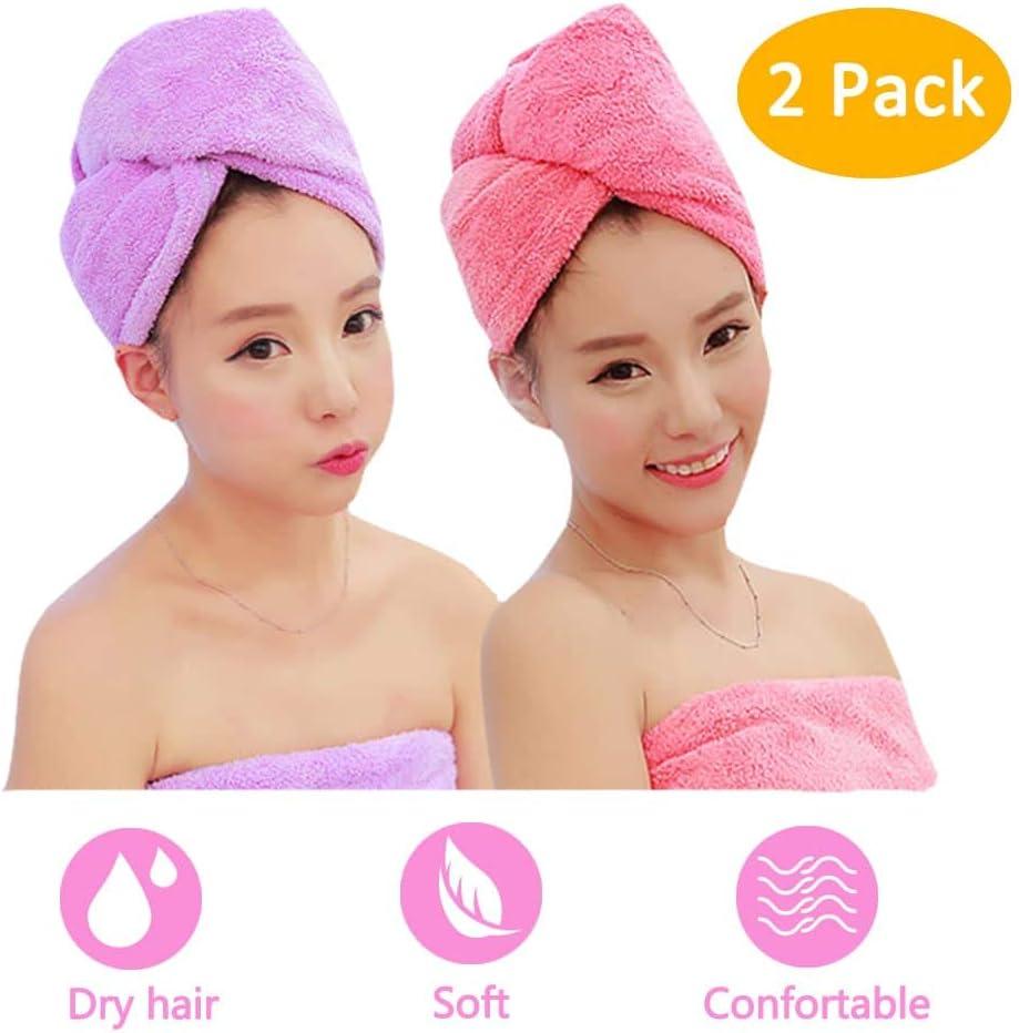Microfiber Hair Towel 2 Minneapolis Mall cheap Pack Absorben Dry Twist Wrap