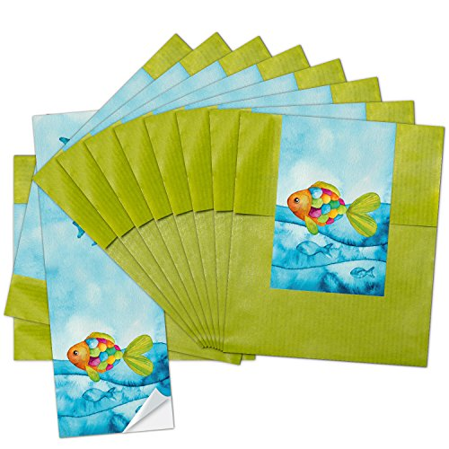 10 kleine grüne Papier-Tüten 9,5 x 14 cm + 10 blau türkise Regenbogen-Fisch SCHÖN DASS DU DA BIST Aufkleber 5 x 15 cm Verpackung give-away