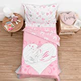 TILLYOU 5-Piece Swan Toddler Bedding Set for Girls, Lightweight & Soft Bed-in-a-Bag Microfiber Comforter Set, Includes 1 Top Flat Sheet, 1 Mattress Sheets, 1 Padded Quilt and 2 Envelope Pillowcases