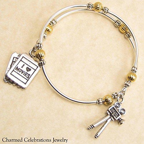 Filmmaker Wrap Bracelet Handmade Themed Charm Bracelet Jewelry Gift. Gold, Silver or Black Bead Option