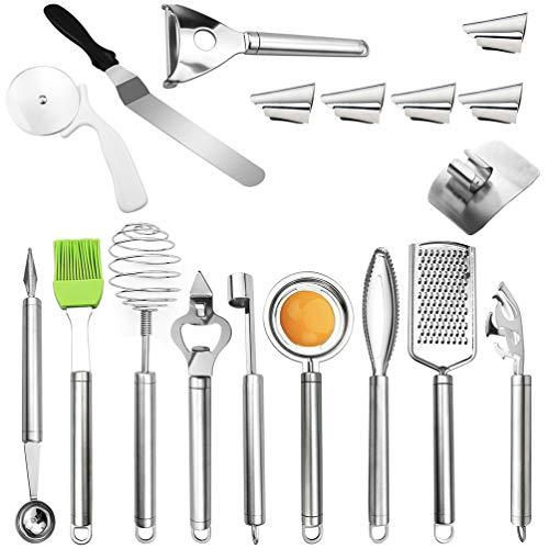 Hemoton Juego de utensilios de cocina de 18 piezas, protector de dedos, utensilios de cocina, utensilios de cocina, utensilios de cocina, herramientas de cocina regalos