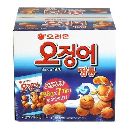 Korean Orion Peanut & Squid Ball Value Pack 1 Box (98g X 7ea) 오징어 땅콩