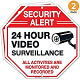 Video Surveillance Sign, Large 12X12 Inches, Rust Free 0.40 Aluminum, (2 Pack) Security Alert Warning All Activities are Monitored and Recorded Sign, Indoor and Outdoor use - by ARMO