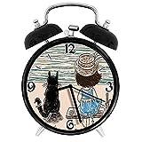 BeeTheOnly Exquisito Reloj Despertador Animales Niña con Sombrero de Panamá sentada en un Banco con Gato Esponjoso de The Seaside, Tan Adecuado para Estudio de Dormitorio de Oficina