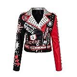 Chaquetas de cuero recortadas para mujer, con estampado de graffiti, bolsillo para cinturón, negro, XL