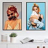 KWzEQ Cantante de música Estrella Rapero Arte Lienzo Pintura al óleo póster e impresión Mural decoración del hogar60X80cmx2Pintura sin Marco