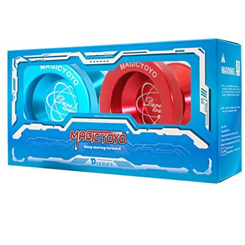 MAGICYOYO Pack of 2 Tiny Yoyos N8 Unresponsive Yoyo Alloy Aluminum YoYos Red +Yoyo Blue + 10 Strings + 2 Gloves +2 Yoyo Bags Gift