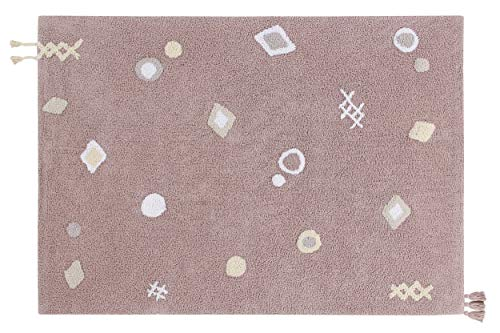 Lorena Canals - Alfombra Lavable Noah - Rosa Palo, Marfil, Blanco, Vainilla, Beige - 97% algodón 3% Otras Fibras. Base: Algodón Reciclado - 140x200 cm