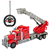 eBigValue 2.4Ghz RC Red Semi Truck with Adjustable Crane Basket (14.5 inch Long) with Lights and Go Forward and Backward, Turn Left and Right (4 Channel)