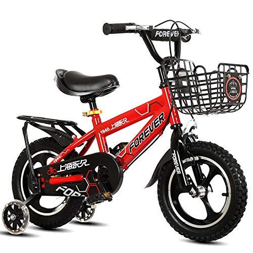 BAOMEI Bici per Bambini Biciclette for Bambini, 2-5 Anni, Ragazzi E Ragazze Biciclette 12-14 Pollici con Assist Ruota, Bianco, Rosso, Blu, Rosa (Color : Red, Size : 14in)