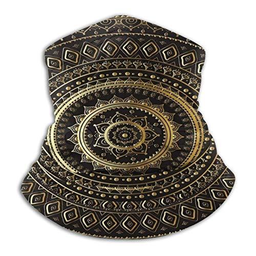 Multifuncional uso turbante cuello polaina mas-k pasamontañas anti-UV polvo calentador de cuello unisex oro negro mandala étnico oriental