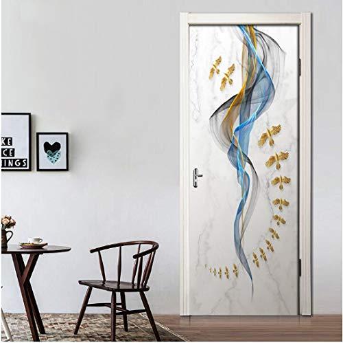 MNJKH Door stickers door decals, Abstract Line Marbled Bird 3D Door Sticker Waterproof Self-adhesive Wallpaper Wall Stickers Living Room Door Decor Decals