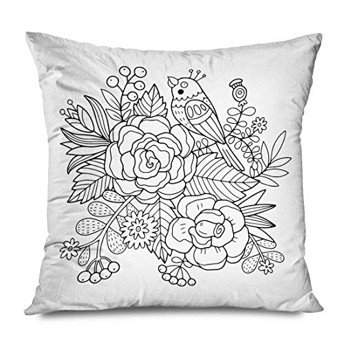 iksrgfvb Throw Pillow Cover 45x45CM Coloring Lovely Bird Flowers Florals Animals Wildlife Adult Nature Colouring Spring Abst