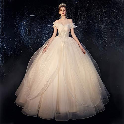 roroz Hochzeitskleider Lang Prinzessin Damen TüLl, Tube Top RüCkenfrei Abendkleid, Brautkleider Hochzeitskleider Standesamt Champagner,XL