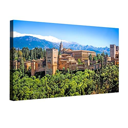 Desconocido Cuadro Lienzo Canvas Alhambra de Granada panorámica con Sierra Nevada – Varias Medidas - Lienzo de Tela Bastidor de Madera de 3 cm - Impresion en Alta resolucion (120, 59)