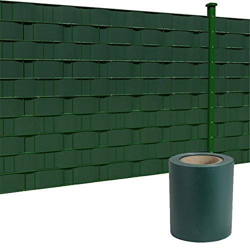 HENGMEI 35mx19cm Visibilità PVC Paravista Strisce Rotolo recinzione Protezione frangivento frangivista, Verde