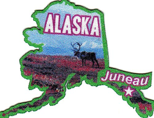 JUNEAU ALASKA State Shape Capitol City Iron On Printed Patch