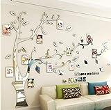 Asvert Stickers Autocollants Muraux 3D en Acrylique Arbre avec des Branches Incurvées et des Cadres de Photo et des Oiseaux (S, Argent vers Droit)