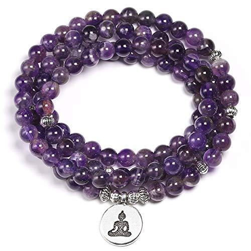 PPuujia Pulsera de cristal natural de amatista de cristal púrpura de 6 mm, collar de cuentas de yoga 108 de piedra mala, para mujer, joyería de energía de loto (color de metal: dije de Buda)