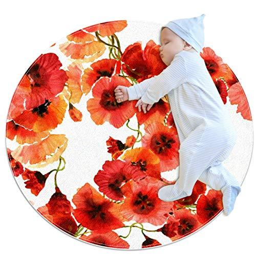 Tapete de Juego para Niños Flor roja Alfombra Infantiles Antideslizante Alfombra Suave Niños Alfombra Bebe Alfombra de Gateo 70x70cm