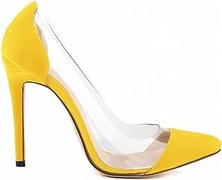 [UMIZORA] ハイヒールクリアパンプス ピンヒール とんがりトウ 11cmヒール スエード サイドクリア 浅履き 透明感 結婚式 パーティー 11色選べ 22.5cm-26.0cmサイズ展開